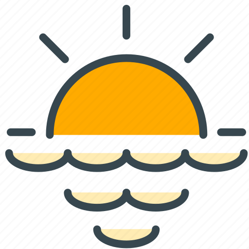 forecast, ocean, sea, sunrise, sunset, weather icon
