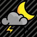 cloud, meteorology, night, rain, weather