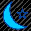 night, moon, star, weather