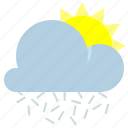 cloud, ice needles, sun, weather icon