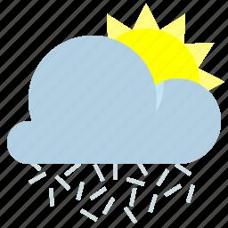 cloud, ice needles, sun, weather icon