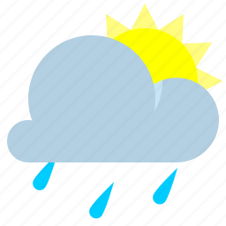 partly cloudy, rain, sun, weather icon