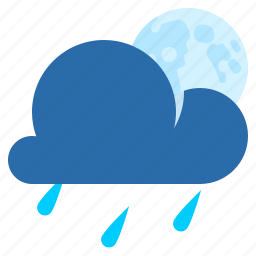 night, partly cloudy, rain, weather icon