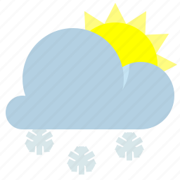 partly cloudy, snow, sun, weather icon
