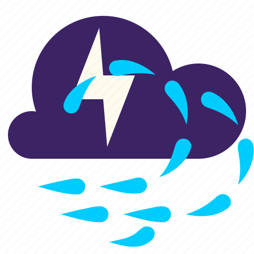 lightning, rainstorm, weather, wind icon