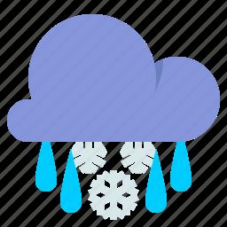 cloud, showery, sleet, weather icon