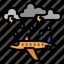 weather, cloudy, aircraft, plane, cloud, rain, thunder