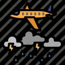weather, cloudy, sky, aircraft, plane, rain, thunder