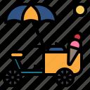 weather, ice, cream, cart, summer