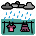 weather, rain, clothes, wet, hang