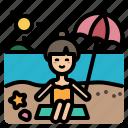 weather, summer, beach, woman, sun, vacation, sea