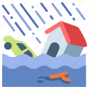 damage, disaster, flood, house, hurricane, water, weather icon