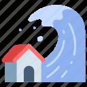 disaster, ocean, sea, storm, tsunami, water, wave icon