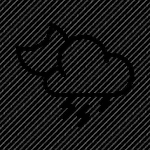 cloud, moon, rain, weather, widget icon