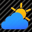 cloudy, partly, sky, sunny