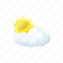 cartoon, cloud, forecast, nature, sky, sun, weather icon