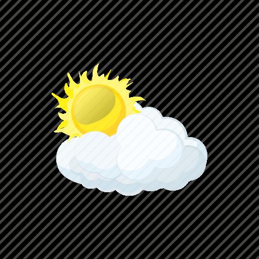 cartoon, cloud, forecast, nature, sky, sun, weather icon