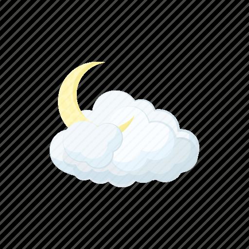 cartoon, cloud, decoration, forecast, moon, sky, weather icon