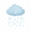 cartoon, cloud, sky, snow, snowflake, weather, winter icon