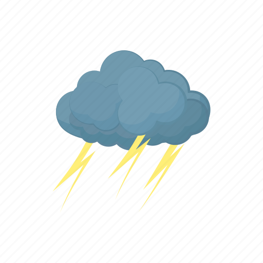 cartoon, cloud, grey, lightning, storm, thunder, weather icon