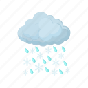 cartoon, cloud, rain, season, sky, snow, weather icon