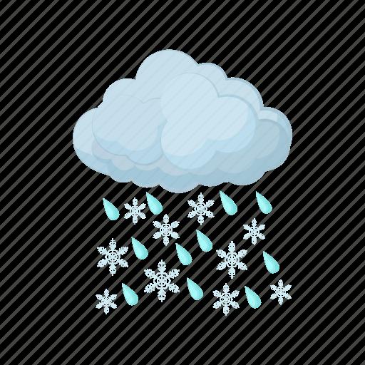 cartoon, cloud, rain, season, sky, snow, weather icon