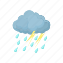 cartton, cloud, heavy, lightning, rain, sky, thunderstorm icon
