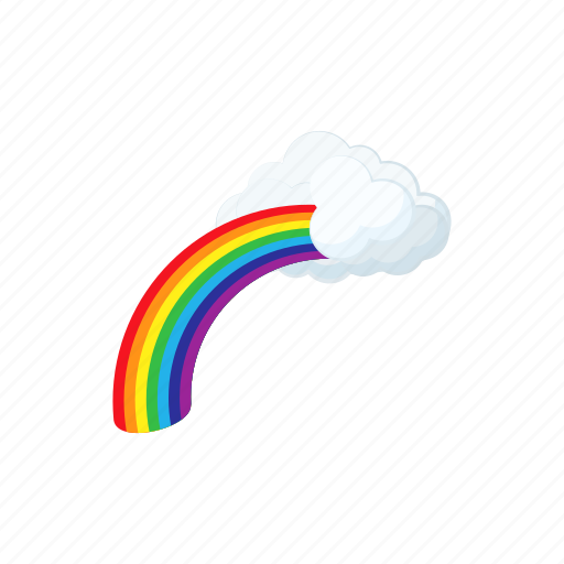 cartoon, cloud, concept, nature, rainbow, sky, summer icon