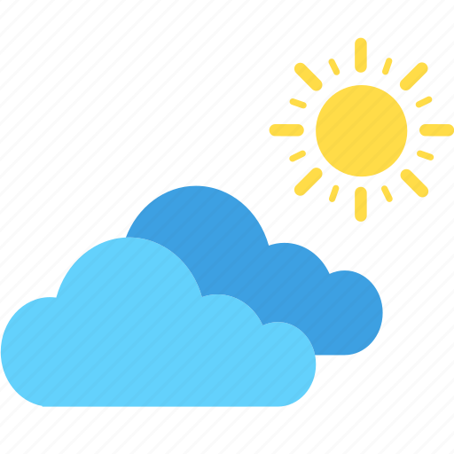 cloud, cloudy, summer, sun, sunny, weather icon