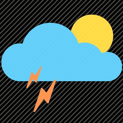 cloud, cloudy, sun, sunny, thunder, weather icon