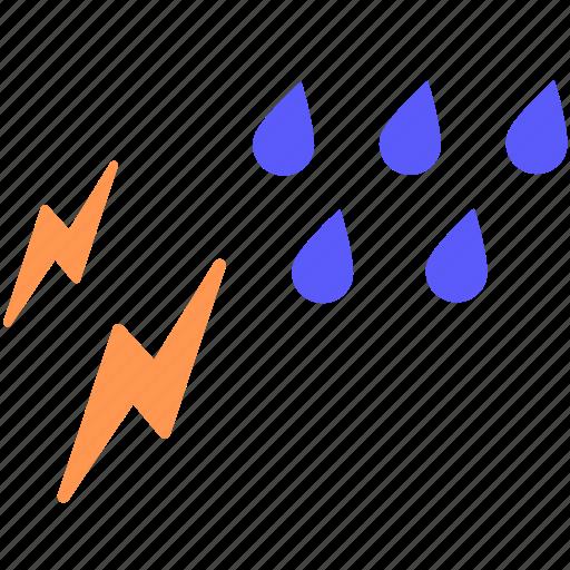 rain, thunder, weather icon