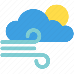 cloud, cloudy, sun, sunny, weather, wind, windy icon