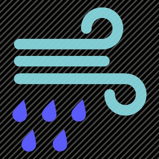 rain, weather, wind, windy icon