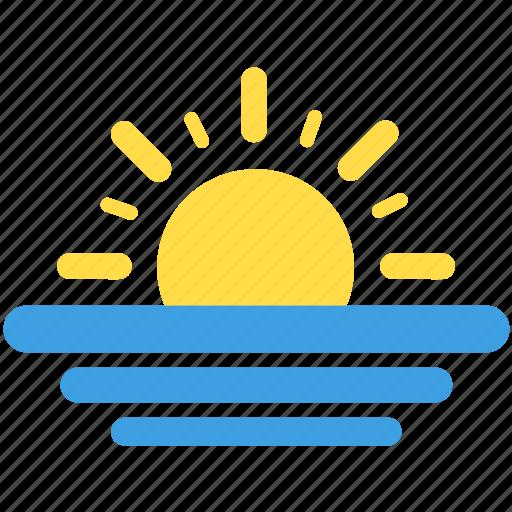 sea, seascape, sun, sunny, sunset, weather icon
