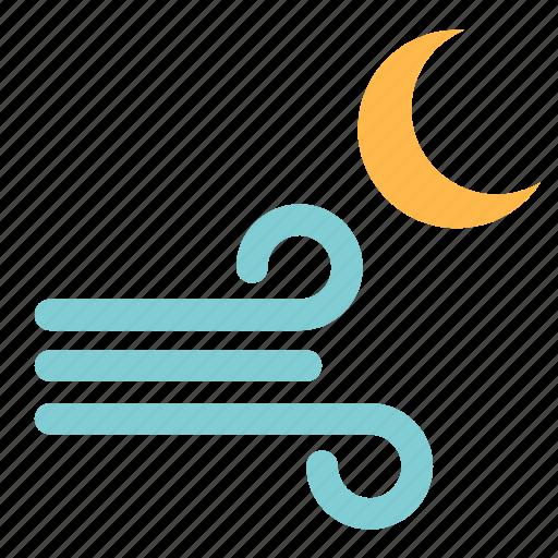 moon, moonlight, night, weather, wind, windy icon
