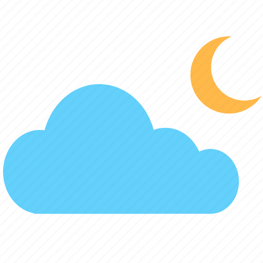 cloud, cloudy, moon, moonlight, night, weather icon