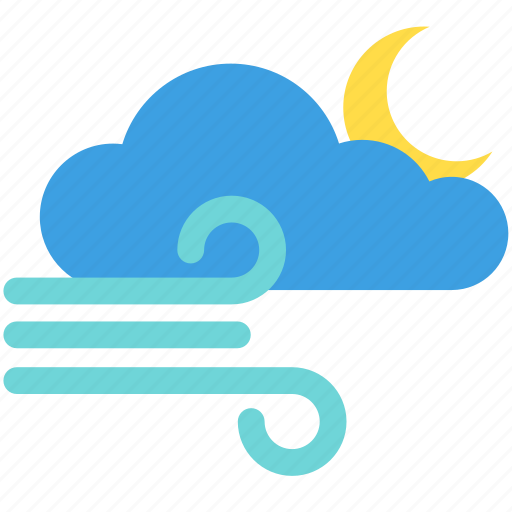 cloud, cloudy, moon, moonlight, night, weather, wind icon