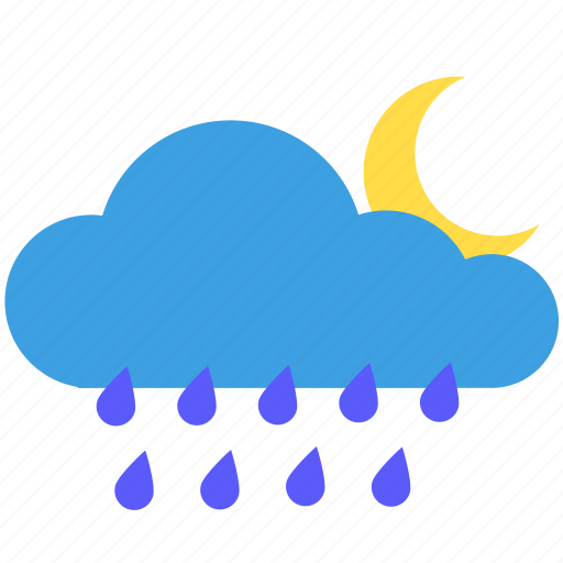 Cloud, cloudy, moon, moonlight, night, rain, weather icon - Download on Iconfinder