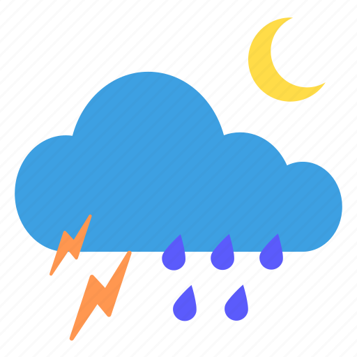 cloud, cloudy, moon, night, rain, thunder, weather icon