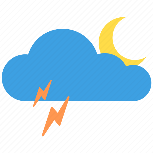 cloud, cloudy, moon, moonlight, night, thunder, weather icon