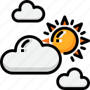 cloud, cloudy, forecast, partly, summer, sun, weather