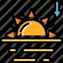 climate, forecast, sun, sunset, weather icon