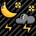 climate, forecast, lightning, moon, night, thunder, weather icon
