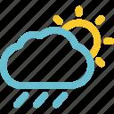 drizzle, rain, rainfall, rainy, sunny, weather icon