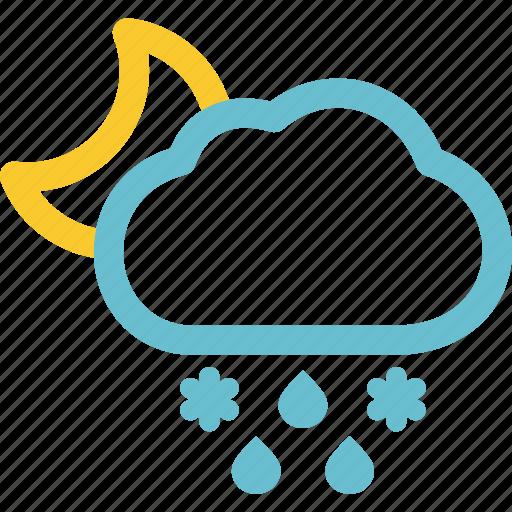 Falls, sleet, weather, night, mixed, precipitation icon