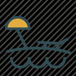 beach, ocean, sea, summer, umbrella icon