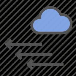 arrow, cloud, direction, left, wind icon