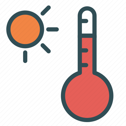 day, heat, hot, summer, sun, thermometer icon