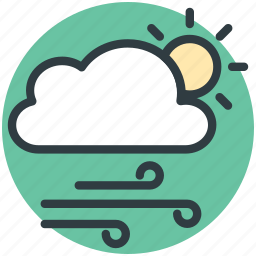 cloud, forecast, sun, weather, winds icon