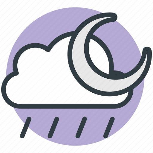 cloud, forecast, moon, rain, weather icon